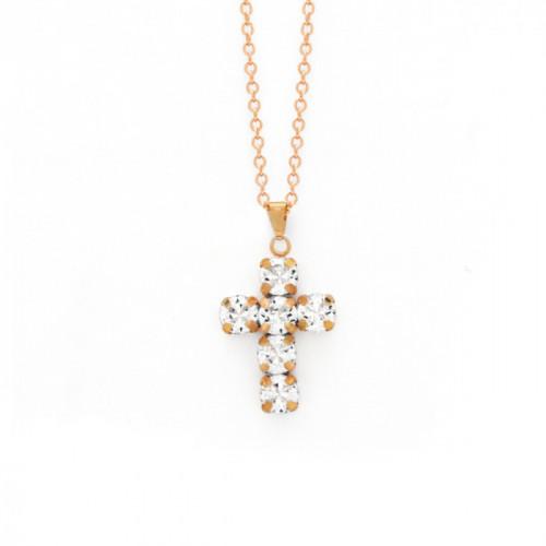 Pink Gold Necklace Minimal Cruz