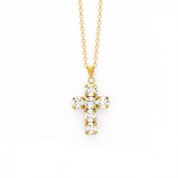 Collar cruz crystal de Minimal en oro