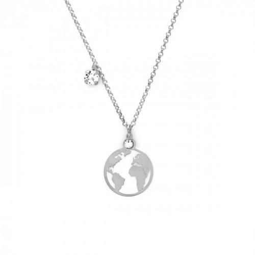 Collar mundo pequeño plata