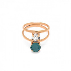 Anillo doble royal green de Celine en oro rosa