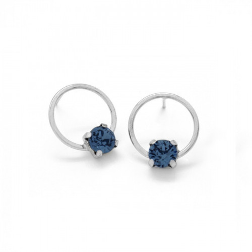 Silver Earrings Hoop Denim Blue
