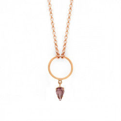 Pink Gold Necklace Hoop
