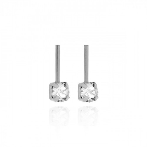 Silver Earrings Minimal small bar