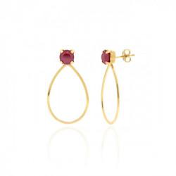 Pendientes ovalados royal red de Arty en oro