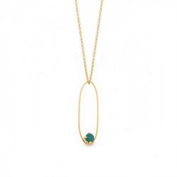 Collar ovalado royal green de Arty en oro