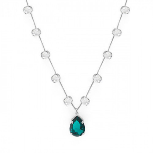 Silver Teardrop with Oval Necklace Emerald