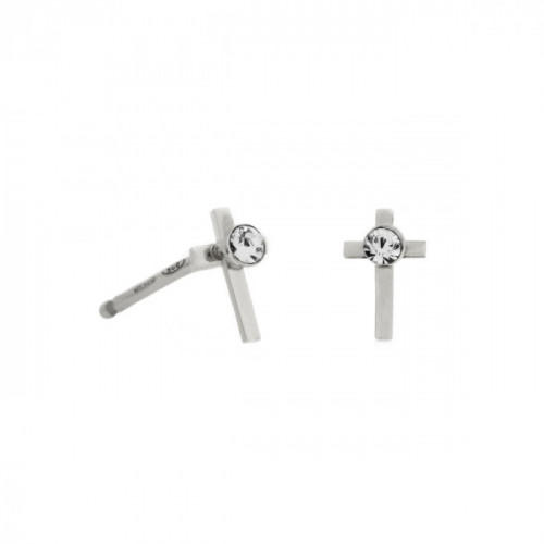 Silver Earrings Teen cross