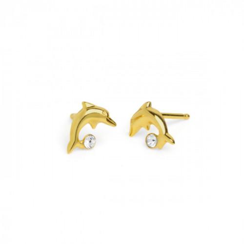Gold Earrings Teen dolphin