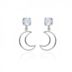 Silver Earrings Selene moon Powder Blue