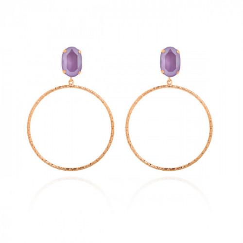 Pendientes Lilac de aro oro rosa