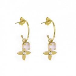 Gold Earrings ring open flower