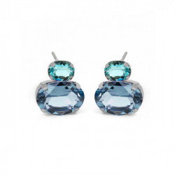 Silver Transparent double Earrings Denim Blue
