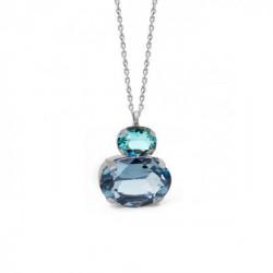Silver Transparent double Necklace Denim Blue
