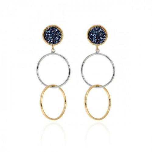 Gold Chiss Earrings Denim Blue
