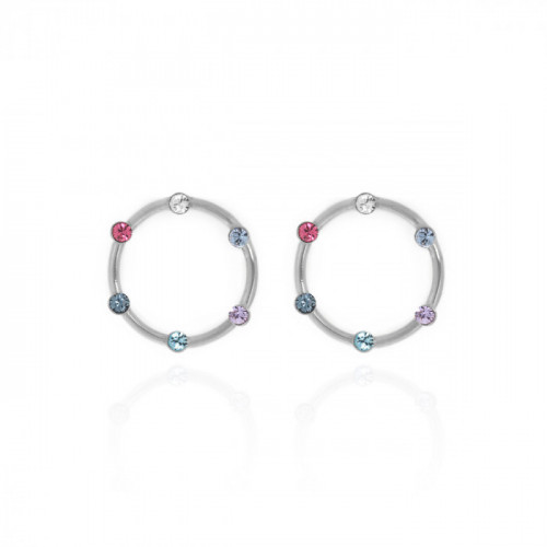 Silver Iris Earrings Multicolor