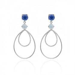 Silver Arty Earrings Royal Blue