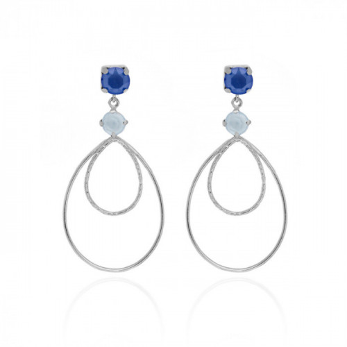 Silver Arty Earrings Royal Blue