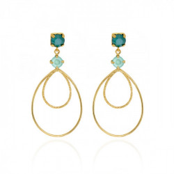 Gold Arty Earrings Royal Green