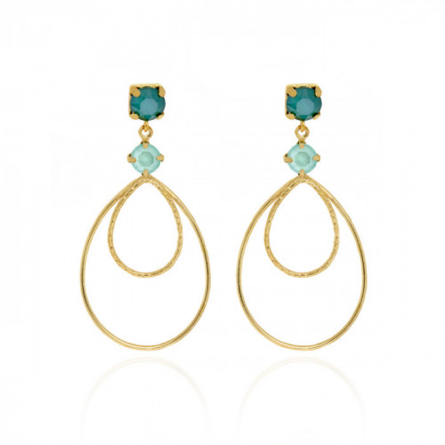 Gold Arty Earrings Royal Green