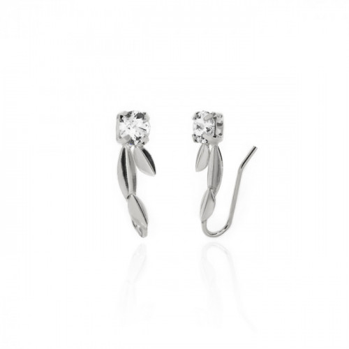 Silver Ojha Earrings Crystal