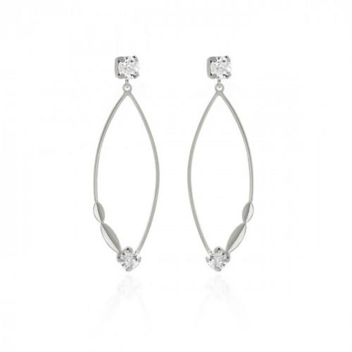 Ojha Earrings Crysstal - Silver
