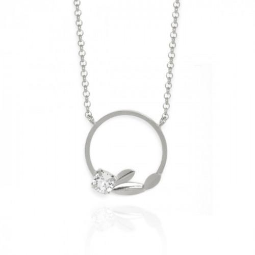 Ojha Hoop Necklace Crystal - Silver