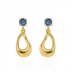 Gold Sunset Earrings Denim Blue