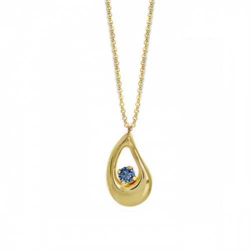 Sunset Necklace Denim Blue - Gold