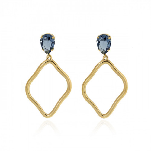 Gold Sunset Earrings Denim Blue