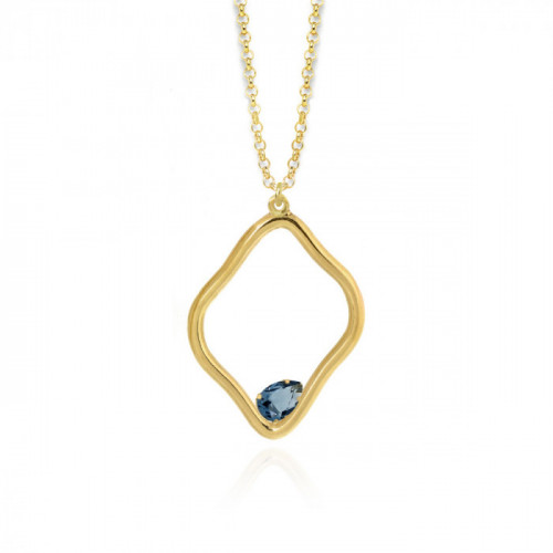 Gold Sunset Necklace Denim Blue