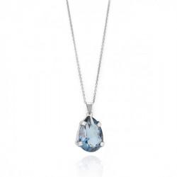Silver Louis Necklace Denim Blue