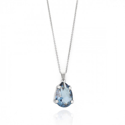 Silver Louis Necklace Denim Blue