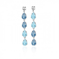 Silver Louis Earrings Denim Blue