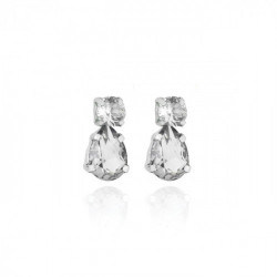 Silver Transparent Earrings Crystal