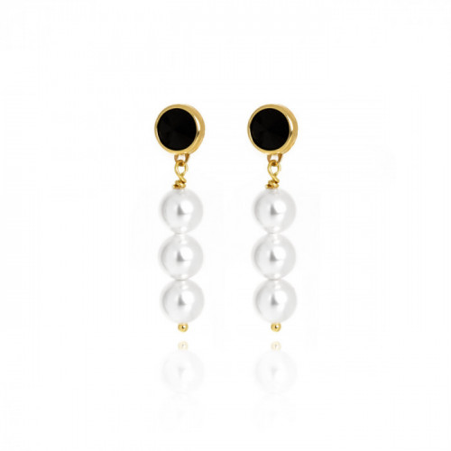 Gold Manacor Earrings Jet