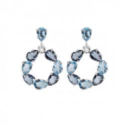 Silver Louis Earrings Denim Blue