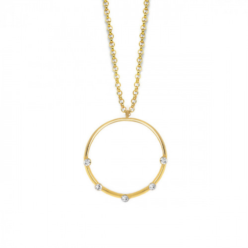 Gold Iris Hoop Necklace Crystal