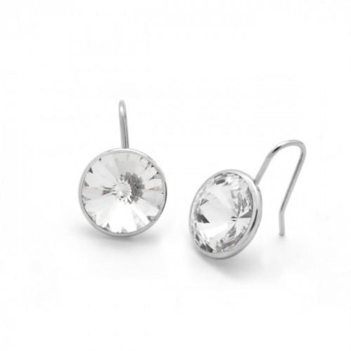 Silver Earrings Basic Crystal