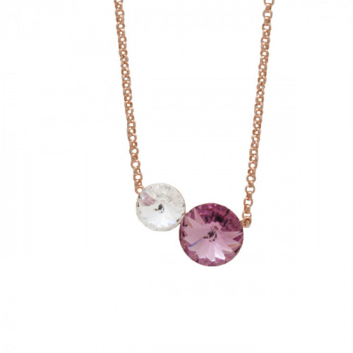 Pink Gold Necklace Combination Double