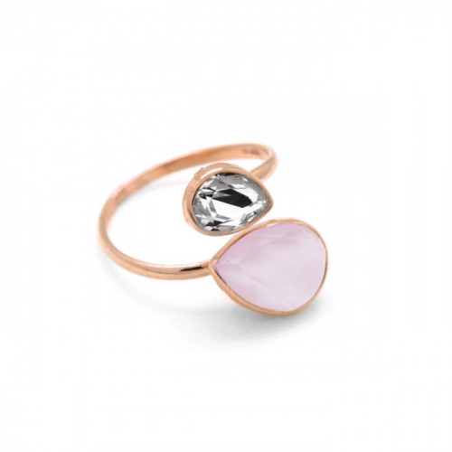 Pink Gold Double ring teardrop