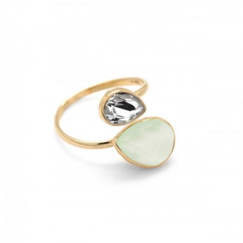 Silver Double ring teardrop