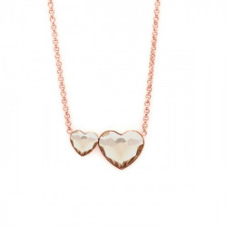 Pink Gold Necklace Cuore double