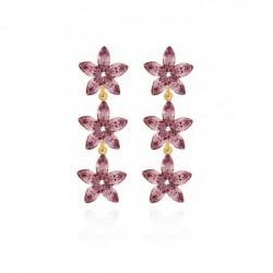 Snowflake Earrings L.Amethyst - Gold